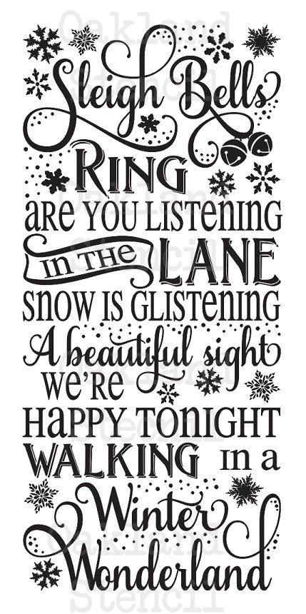 Primitif hiver pochoir ** bague de Sleigh bells... Winter Wonderland ** 12 « x 24 » pour Noël, vacances, aérographe, signes de peinture, artisanat, Art de mur