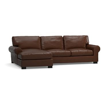Turner Roll Arm Leather Right Arm Sofa With Chaise Sectional, Down Blend  Wrapped Cushions,