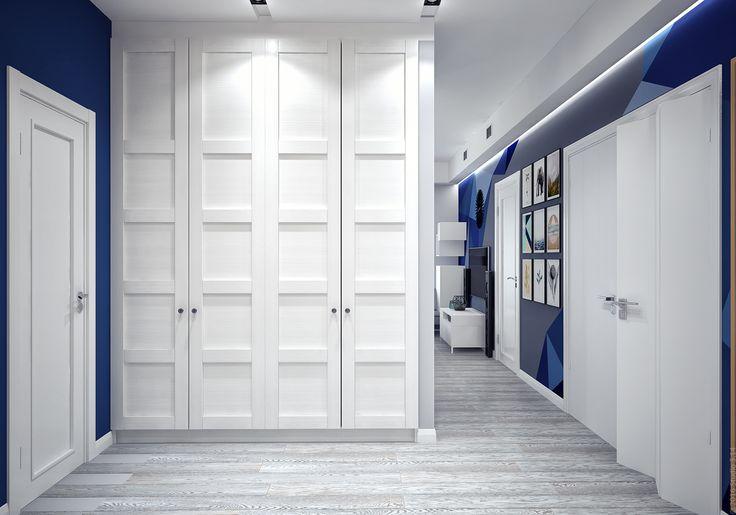 Вместительный гардеробный шкаф. Проход в гостиную.