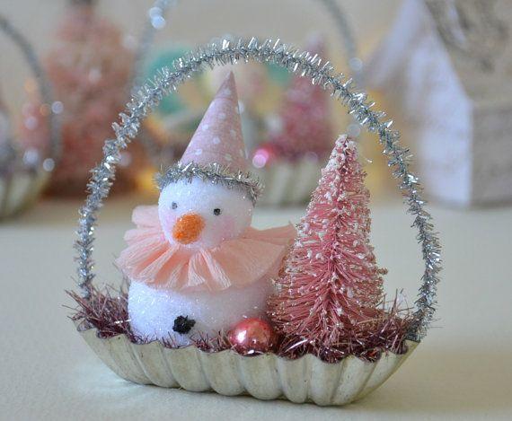 Gesponnen katoen Snowman / Christmas Ornament / Retro stijl