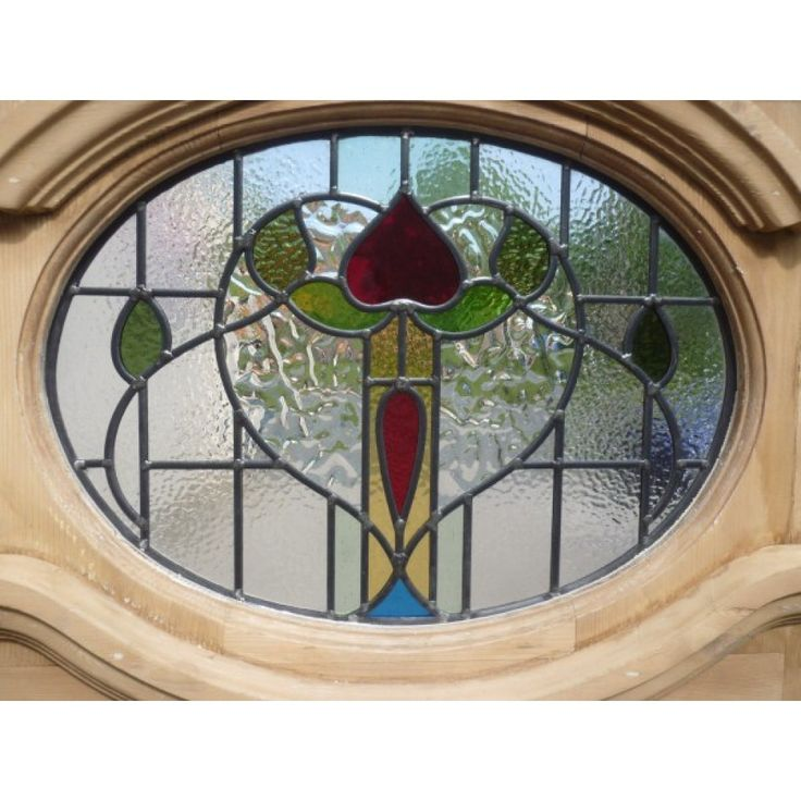 1930 Edwardian Stained Glass Exterior Door   Oval Floral