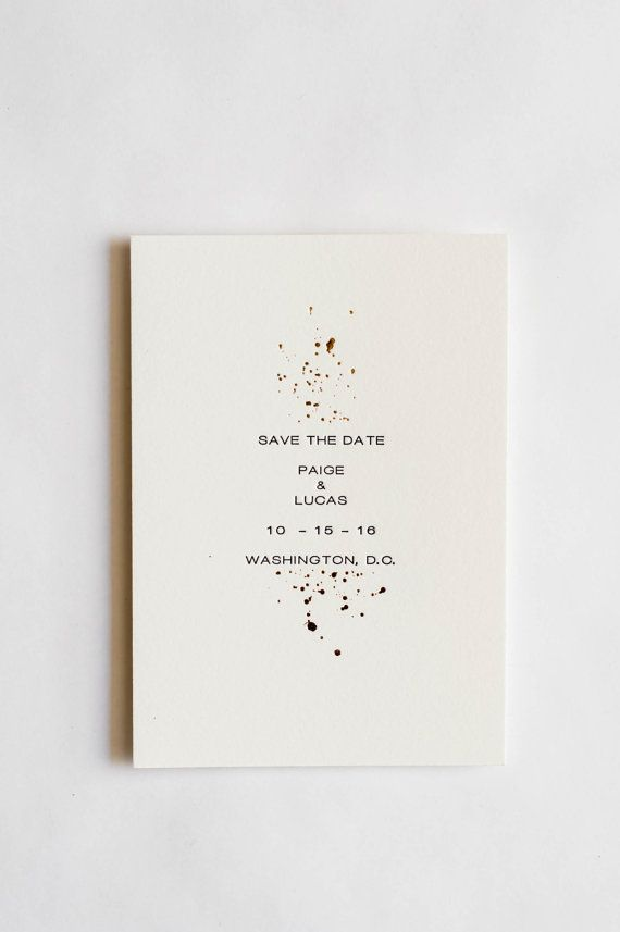 Minimalist save-the-date with a dappling of gold foil