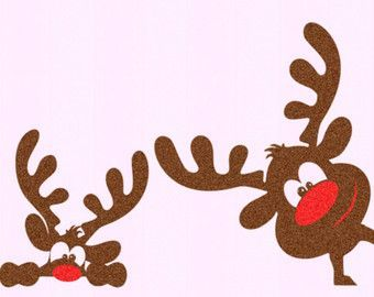 Christmas SVG Girl Reindeer Peeping Peeking Reinde…