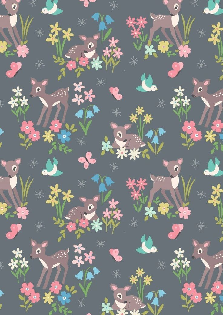 Baby Deer Floral Grey - Cotton