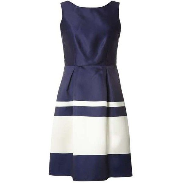 **Luxe Navy Stripe Prom Dress ($80) ❤ liked on Polyvore featuring dresses