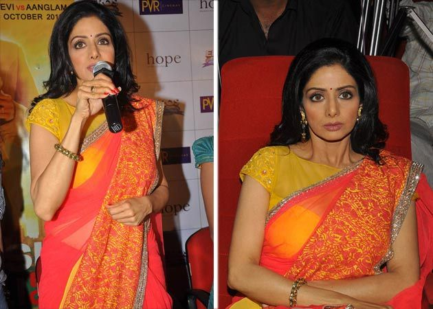 Sridevi was resplendent in a vibrant Manish Malhotra sari, looking much younger than her 49 years at the unveiling of the Telugu trailer of her film English Vinglish.: Manish Malhotra, Vibrant Manish, Malhotra Saris
