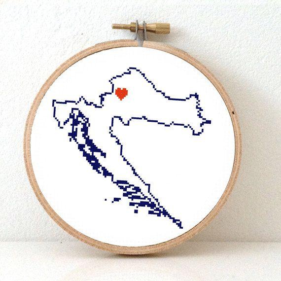 Croatia map modern cross stitch pattern. Croatia with by koekoek, €4.95