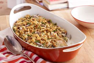 Have some chicken on-hand?  Our chicken casserole with green beans and mushrooms is topped with a creamy sauce and STOVE TOP Stuffing.  Dinner is served!