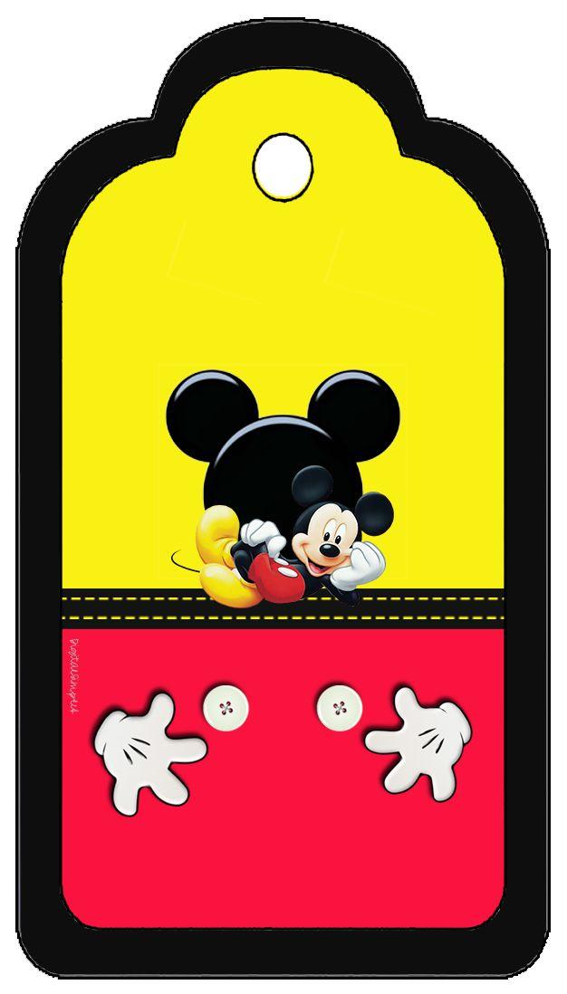 Kit para Imprimir Gratis para Fiestas de Mickey en Rojo y Amarillo. Contiene: tarjetas, invitaciones, etiquetas para Candy Bar, toppers y wrappers para cupcakes, marcapáginas, banderines, conos, marc