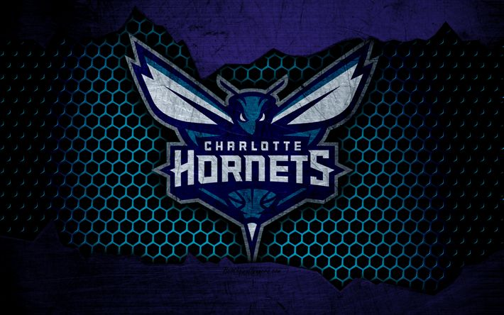 Download wallpapers Charlotte Hornets, 4k, logo, NBA, basketball, Eastern Conference, USA, grunge, metal texture, Southeast Division