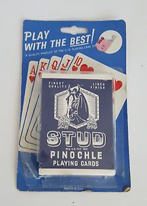 Vintage NIB Stud Pinochle Playing Cards Linen Finsih Printed in USA Horse