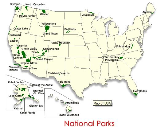 National Parks Map Usa World Map - Map of the us national parks