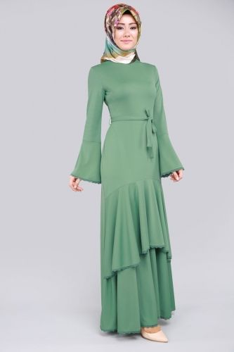 B.İ.S. - Katlı Volan Kol Elbise BİS4184 Mint