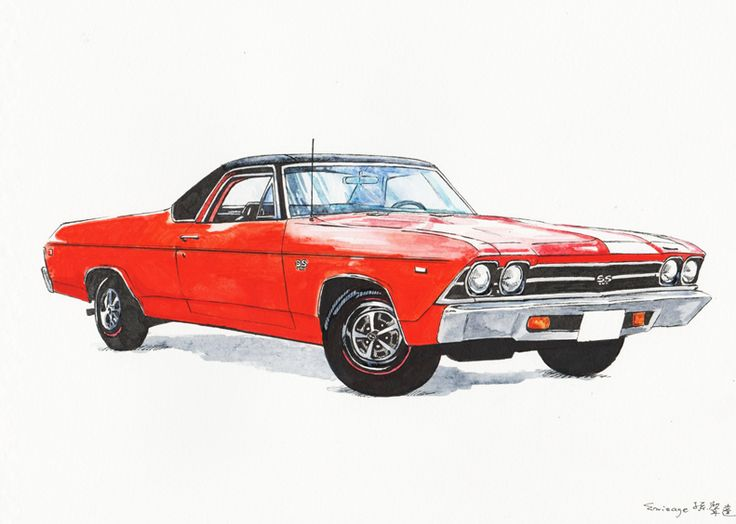 orange chevy camaro watercolour