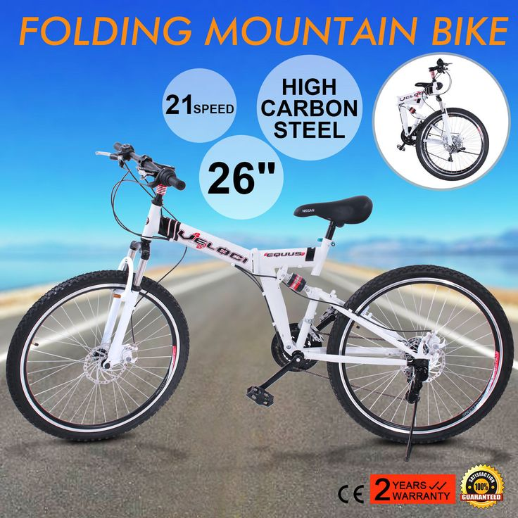 26 Folding Mountain Bike 21 Speed MTB Bicycle Foldable White Mens Bike Shimano