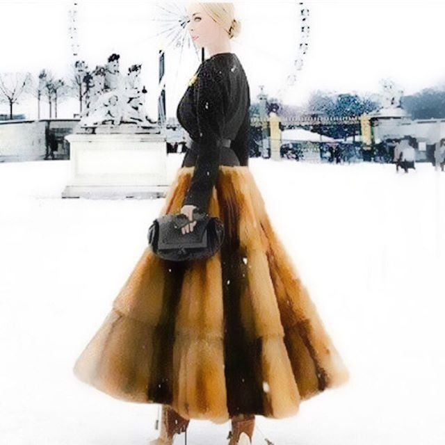 Get idea- repurpose a #vintage #fur coat into an amazing fur maxi #skirt. Seamstress required!