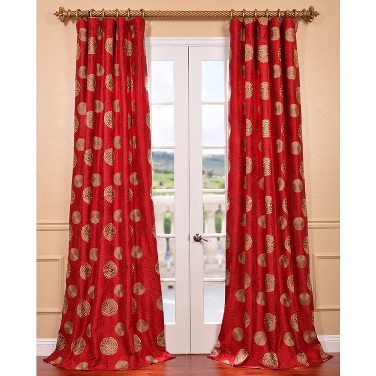 Zen Garden Tango Red Embroidered Faux Silk Curtain…