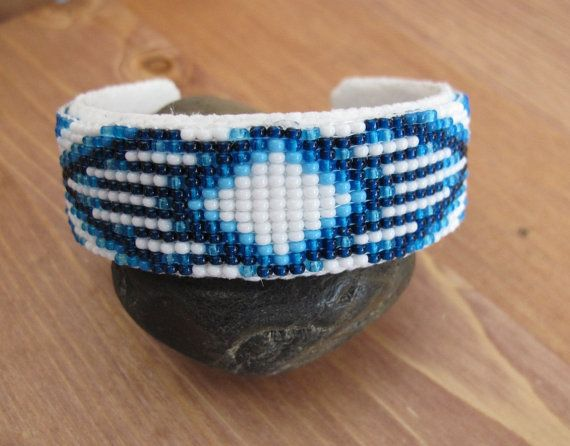 Indigo Blue Beaded Bohemian Cuff Native American Beaded
