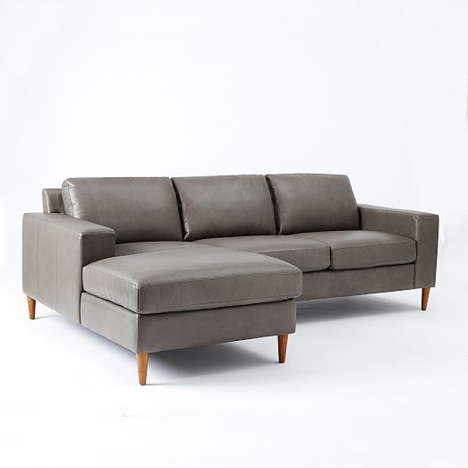 "York 2-Piece Leather Chaise Sectional | West Elm Approx $3500 Current seat height is 19.5"", but we could change the legs to something more modern and shorter to bring the seat height down a bit. The grey leather, in person, is quiet warm, but I feel like it goes well with the blues/greens we are after for accent. Thoughts?"