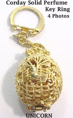 VTG RARE UNICORN SOLID PERFUME KEY RING CHAIN by CORDAY -- Antique ...