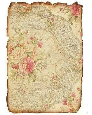 Scrapbook paper background printable, vintage roses and lace doily
