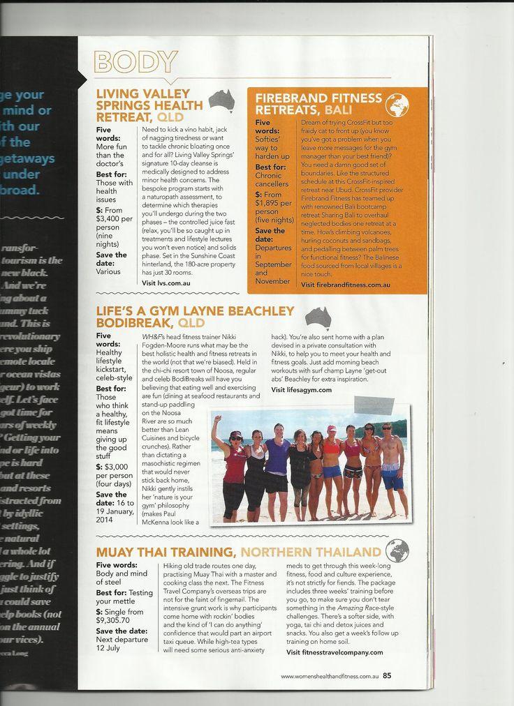 CrossFit Camp Firebrand hits Womens Health & Fitness mag http://www.sharingbali.com/bootcamp/crossfit/