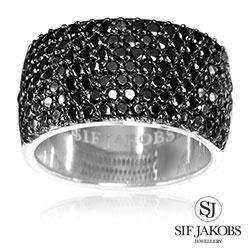 Sif jakobs bari ring i rhodineret sterlingsølv - SJ-R10439-BK-SK