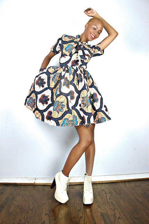 The Minnie Bell- African Print 100% Holland Wax Cotton Dress.