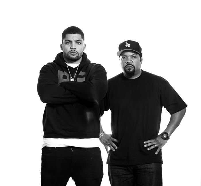 "O'Shea Jackson Jr. (aka Ice Cube) from ""Straight Outta Compton"" with the man himself, legendary rapper Ice Cube"