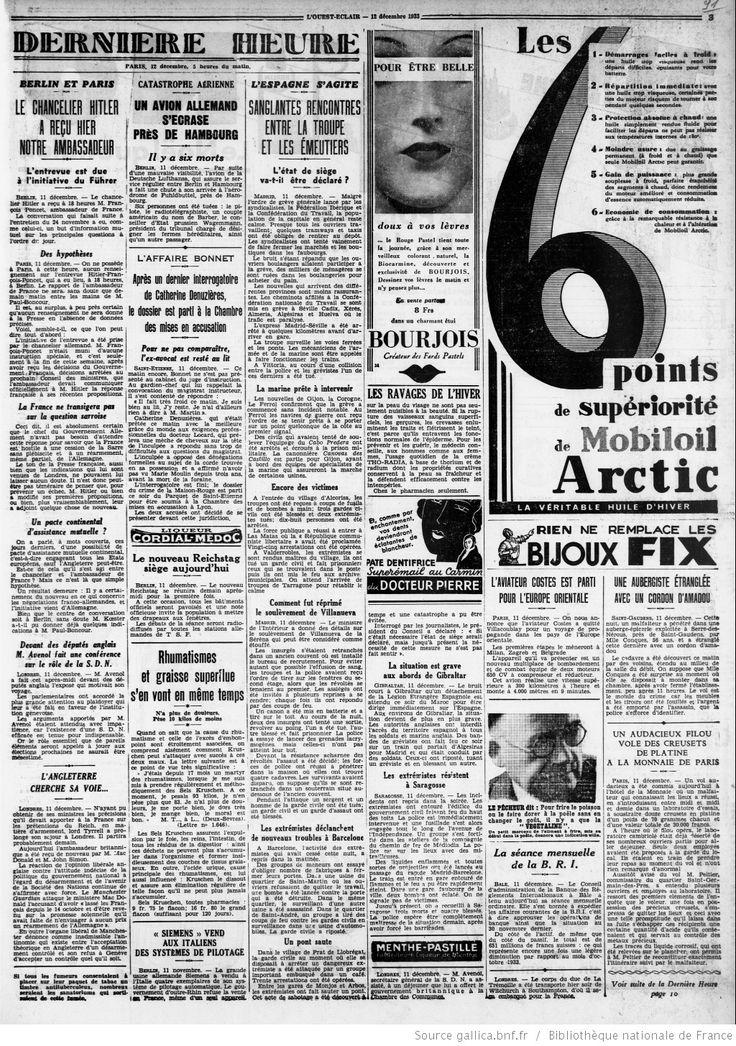 L'Ouest-Éclair : journal quotidien d'informations, politique, littéraire, commercial | 1933-12-12 | Gallica