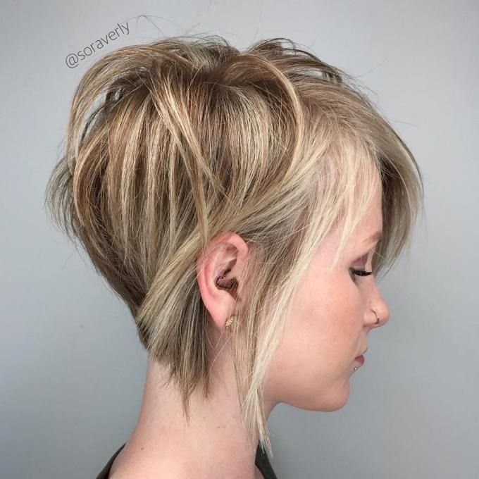Brown Blonde Pixie Bob For Thin Hair