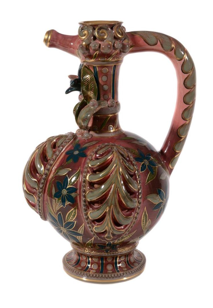 A Zsolnay Pecs ewer, circa 1880, decorated with stylized flo