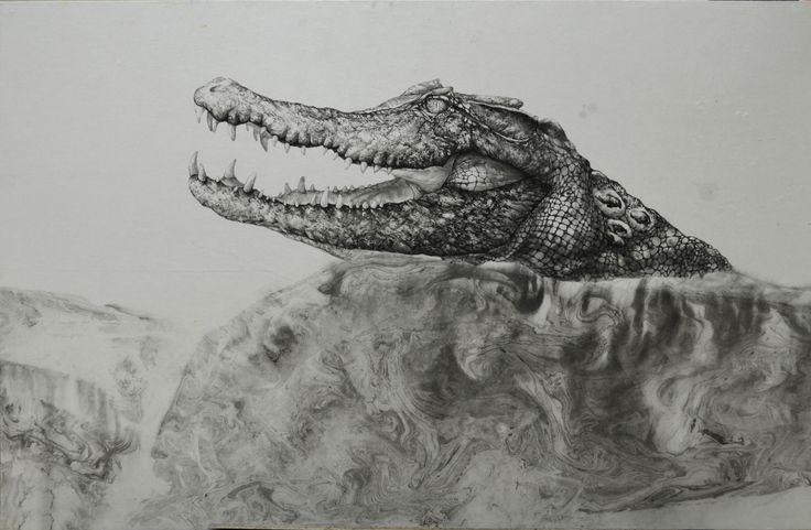 crocodile:Indian Color on Korean paper 2013,70ⅹ125 It was drawn by Dahae Ji. g.daz