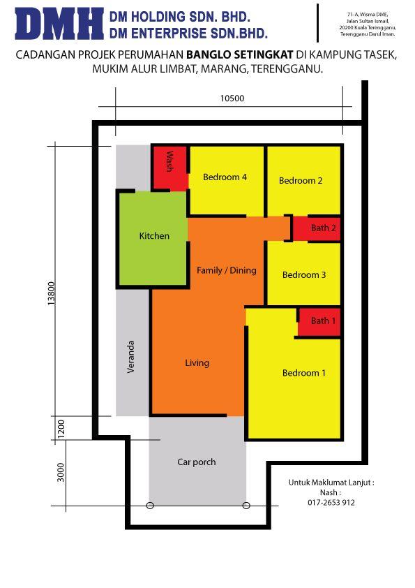 Image Result For Rumah Teres Setingkat 4bilik My House Plans Small House Design Plans Bungalow House Plans