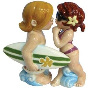 Mwah Magnetic Surfer and Bikini Girl Salt and Pepper Shaker Set A scene on any beach from Hawaii to Main Beach in East Hampton or the Mendocino Coast.  http://theceramicchefknives.com/novelty-salt-and-pepper-shakers/ Mwah Magnetic Surfer and Bikini Girl Salt and Pepper Shaker Set
