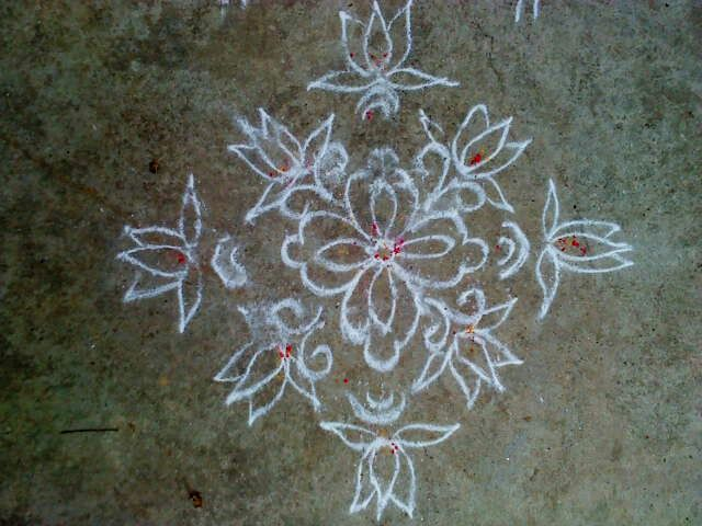 Floral design with Lotus flowers Rangoli.