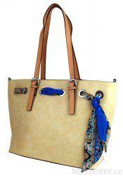 Béžová kabelka na rameno se stylovým šátkem 655-BB