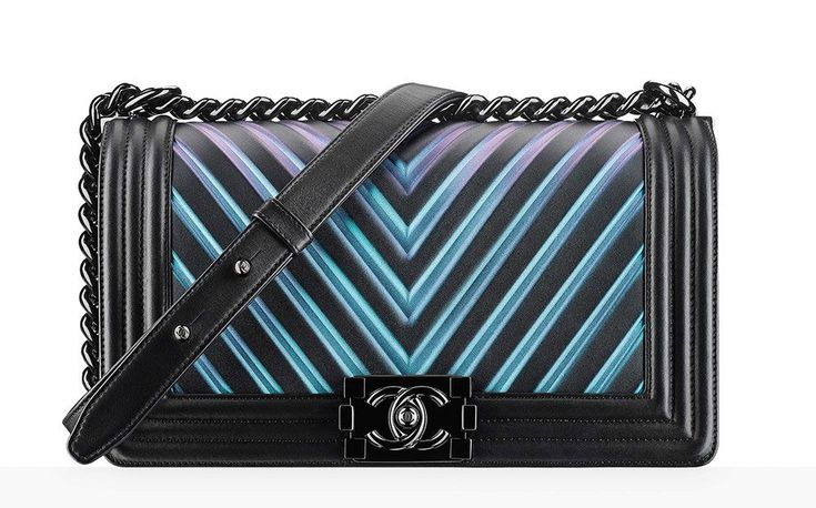 Chanel Boy Bag Black Iridescent Chevron ($4,500)
