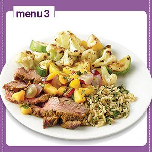 Indian-Spiced Beef with Peach-Grape Salsa     1/2 plate: Nonstarchy Vegetable:    Cauliflower and squash     1/4 plate: Starchy Vegetable or Grain:    1/3 cup rice     1/4 plate: Protein:    Beef    Meal Total: 367 cal., 13 g total fat, 491 mg sodium, 36 g carb, 30 g pro.    Tip: If your dinner recipe includes a fruit or fruit sauce, such as the Peach-Grape Salsa, serve milk or a different low-fat dairy item on the side instead of fruit.