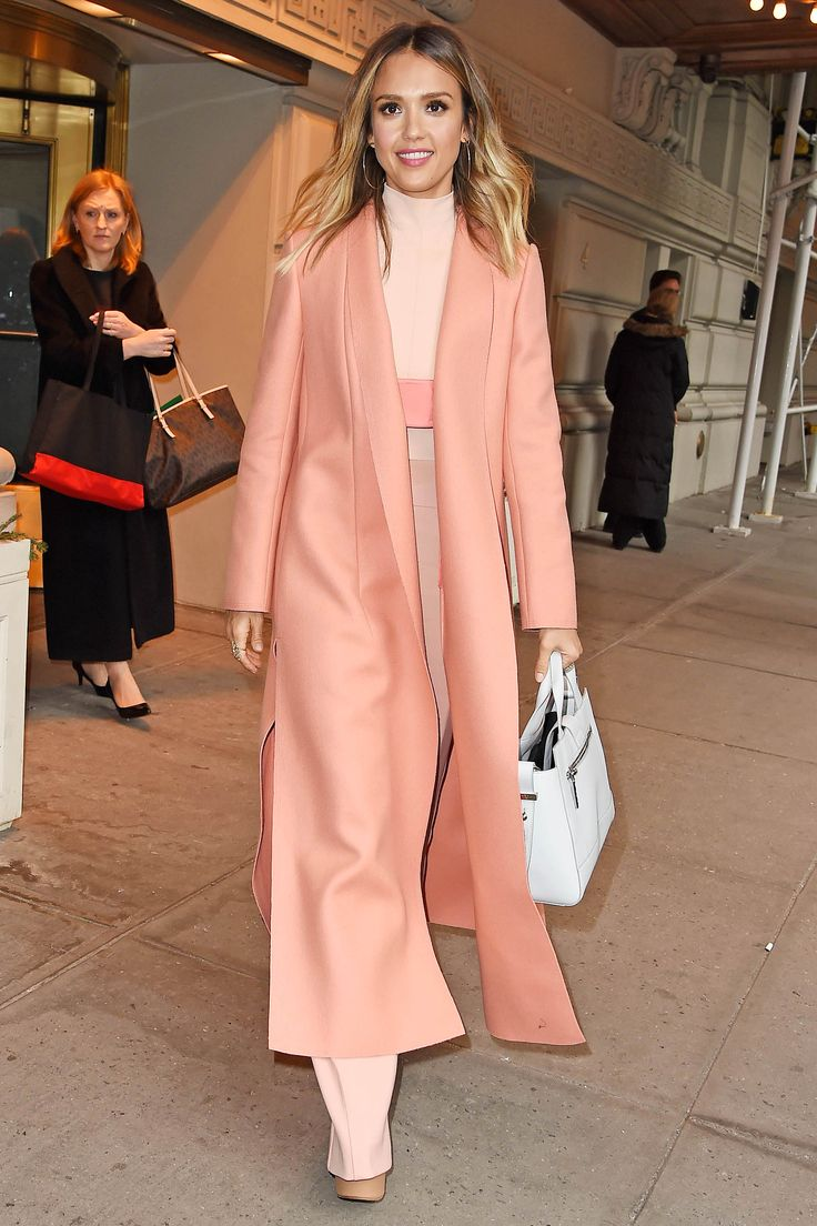 Who: Jessica Alba What: A Bright Sweeping Coat Why: The actress is stunning in shades of pink but the hero of her Narciso Rodriguez look is unarguably that floor length coat—a winner in any hue. Get the look now: The Row coat, $2,790, neimanmarcus.com.   - HarpersBAZAAR.com