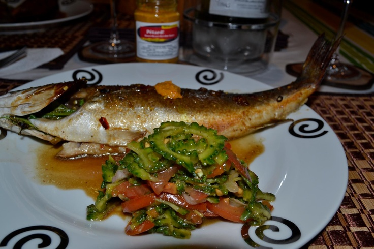 Oven-roasted Seabass with bittergourd salad and served with Mauri-Mauri Hot-Hot Sauce. Simply full of goodies!