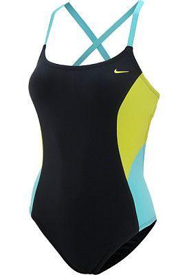 b543fcc9ea NIKE Womens Bondi Block Scoop Neck Tank One-Piece Swimsuit