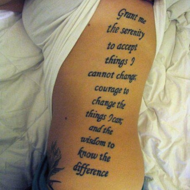 "Tattoo Quotes Wisdom: QUOTE: ""Grant Me The Serenity To Accept Things I Cannot"