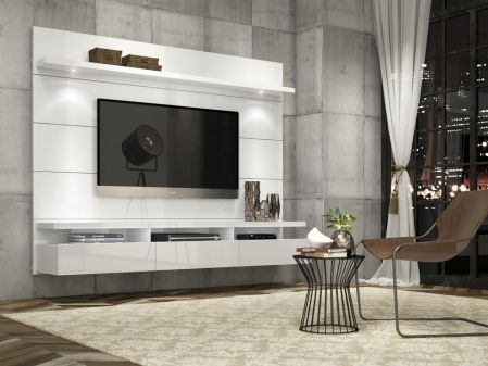 Manhattan Comfort Cabrini Theater Entertainment Center Panel 1.8 in White Gloss 23752 at appliancesconnection.com. Choose between stark white or smooth black, both with a high-gloss finish, or try a more dashing affect with the natural wood tones in a pro-touch finish and the Horizon Home Theater is sure to complete your already chic look. #eyecatcher #perfection #livingroomgoals