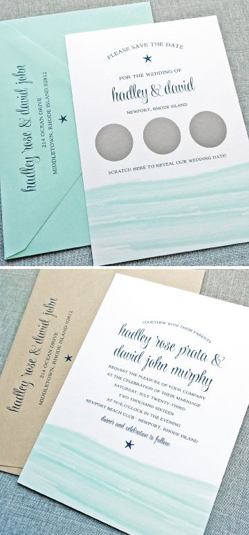 Hadley Aqua Watercolor Waves Beach Scratch Off Save the Date and Wedding Invitation