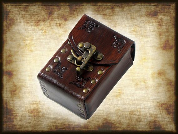 Hard leather DECK BOX for card, with swing hooks, can be worn on belt,