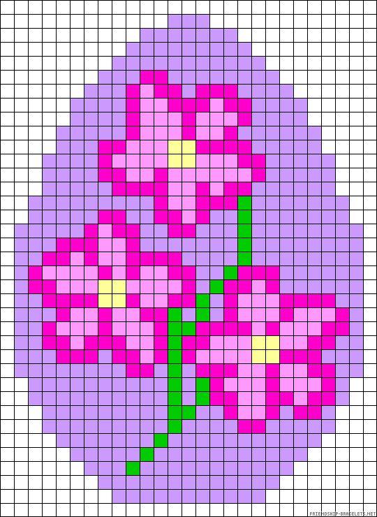 Easter egg flowers perler bead pattern