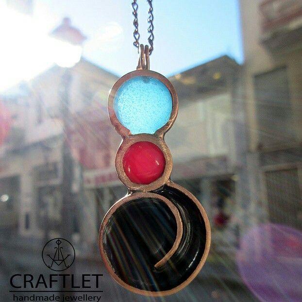 Handmade blue black red enamel necklace by craftlet.com