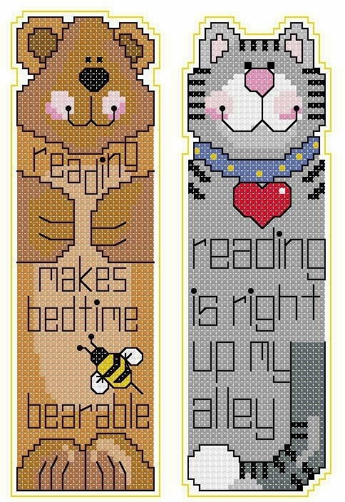 cat and bear book mark.