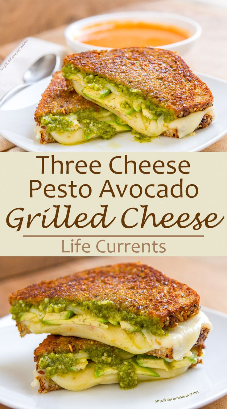This Three Cheese Pesto Avocado Grilled Cheese is soooo good! It features creamy Cheese with rich avocado, and herby pesto all grilled to ooey gooey goodness that you will swoon over!!